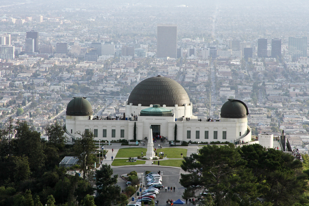 Observatory and planetarium on a high hill overlooking downtown Los Angeles, California - in Griffith Park